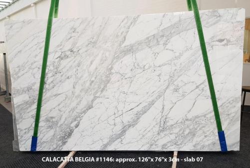 Fornitura lastre grezze lucide 3 cm in marmo naturale CALACATTA BELGIA 1146. Dettaglio immagine fotografie