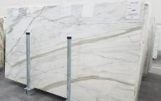 Fornitura lastre grezze lucide 2 cm in marmo naturale CALACATTA CARRARA 1360. Dettaglio immagine fotografie