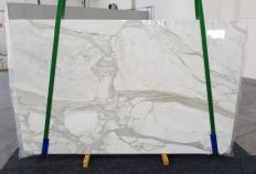 Fornitura lastre grezze lucide 2 cm in marmo naturale CALACATTA ORO 1238. Dettaglio immagine fotografie