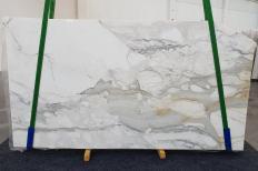 Fornitura lastre grezze lucide 2 cm in marmo naturale CALACATTA ORO 1232. Dettaglio immagine fotografie