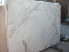Fornitura lastre grezze lucide 2 cm in marmo naturale CALACATTA ORO EM_0477. Dettaglio immagine fotografie