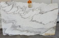 Fornitura lastre grezze levigate 2 cm in marmo naturale CALACATTA WAVE 1451. Dettaglio immagine fotografie