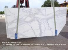 Fornitura lastre grezze levigate 2 cm in marmo naturale CALACATTA 2257. Dettaglio immagine fotografie