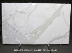 Fornitura lastre lucide 2 cm in marmo naturale CALACATTA 1423M. Dettaglio immagine fotografie