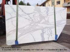 Fornitura lastre levigate 2 cm in marmo naturale CALACATTA 2257. Dettaglio immagine fotografie