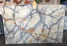 Fornitura lastre grezze lucide 2 cm in quarzite naturale ISOLA BLUE AA T0264. Dettaglio immagine fotografie