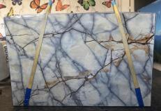 Fornitura lastre lucide 2 cm in quarzite naturale ISOLA BLUE AA T0264. Dettaglio immagine fotografie
