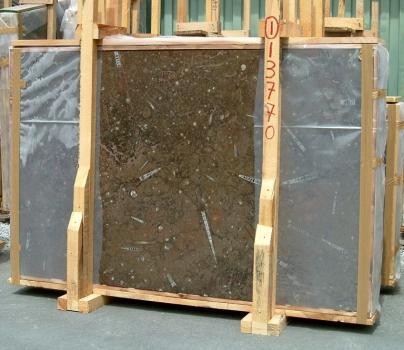 Fornitura lastre grezze lucide 2 cm in marmo naturale MARRON FOSSIL E-13770. Dettaglio immagine fotografie