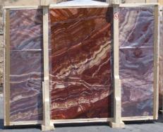 Fornitura lastre grezze lucide 2 cm in onice naturale ONYX RED EXTRA E-14637. Dettaglio immagine fotografie
