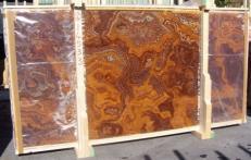 Fornitura lastre grezze lucide 2 cm in onice naturale ONYX RED E-14533B. Dettaglio immagine fotografie