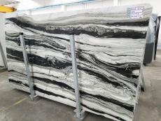 Fornitura lastre grezze lucide 2 cm in marmo naturale PANDA GREY D-7130. Dettaglio immagine fotografie