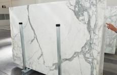 Fornitura lastre grezze lucide 0.8 cm in marmo naturale STATUARIO VENATO 1225. Dettaglio immagine fotografie