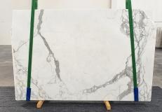 Fornitura lastre grezze lucide 2 cm in marmo naturale STATUARIO VENATO 1225. Dettaglio immagine fotografie