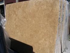 Fornitura lastre grezze lucide 2 cm in travertino naturale TRAVERTINO NOCE EDM25107. Dettaglio immagine fotografie