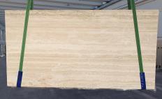Fornitura lastre grezze levigate 2 cm in travertino naturale TRAVERTINO ROMANO CHIARO BARCO 1262. Dettaglio immagine fotografie