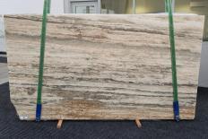 Fornitura lastre grezze levigate 2 cm in travertino naturale TRAVERTINO SILVER ROMANO 1397. Dettaglio immagine fotografie