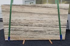 Fornitura lastre grezze levigate 3 cm in travertino naturale TRAVERTINO SILVER ROMANO 1397. Dettaglio immagine fotografie