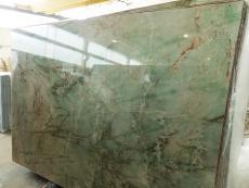 Fornitura lastre grezze lucide 2 cm in quarzite naturale VERDE JADOR A0114. Dettaglio immagine fotografie