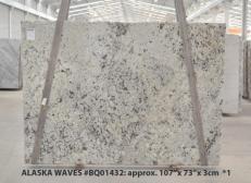 Fornitura lastre grezze lucide 3 cm in granito naturale WHITE WAVE BQ01432. Dettaglio immagine fotografie