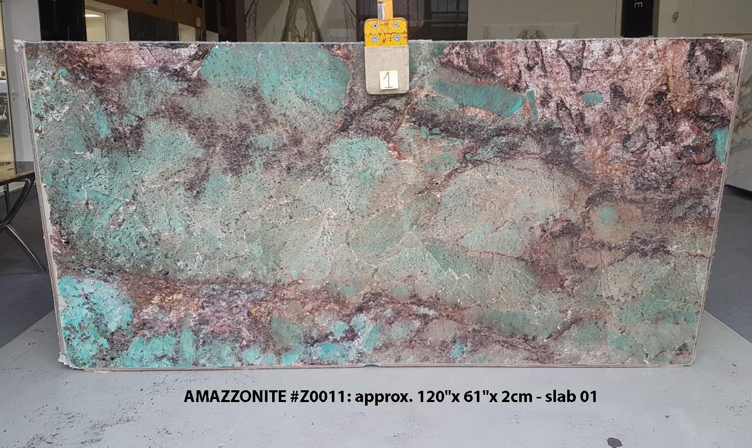 AMAZZONITE Fornitura Veneto (Italia) di lastre grezze lucide in pietra semipreziosa naturale Z0011 , Slab #01