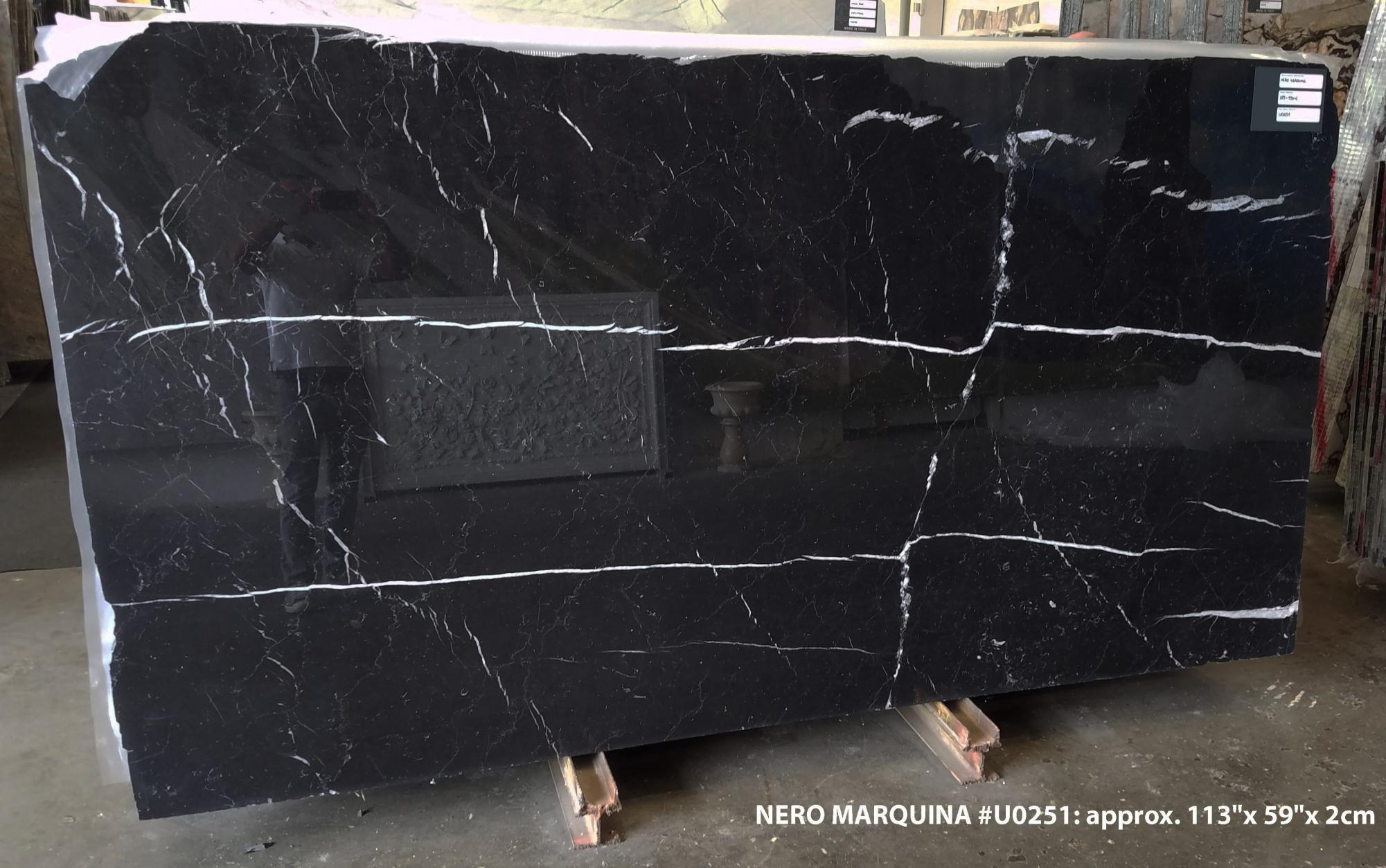 NERO MARQUINA Fornitura Veneto (Italia) di lastre grezze lucide in marmo naturale U0251 , SL2CM