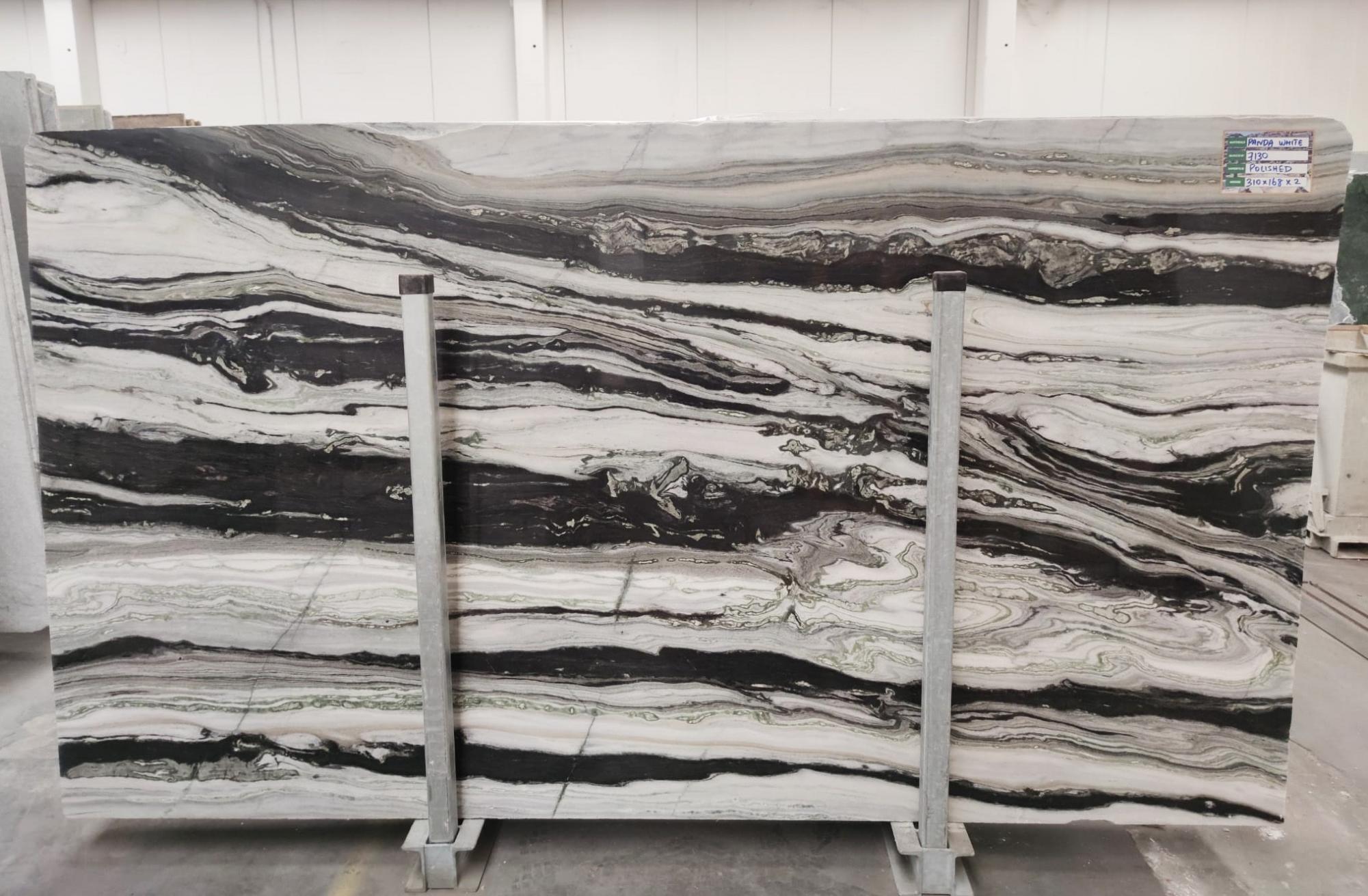 PANDA GREY Fornitura Veneto (Italia) di lastre grezze lucide in marmo naturale D-7130 , SL3CM