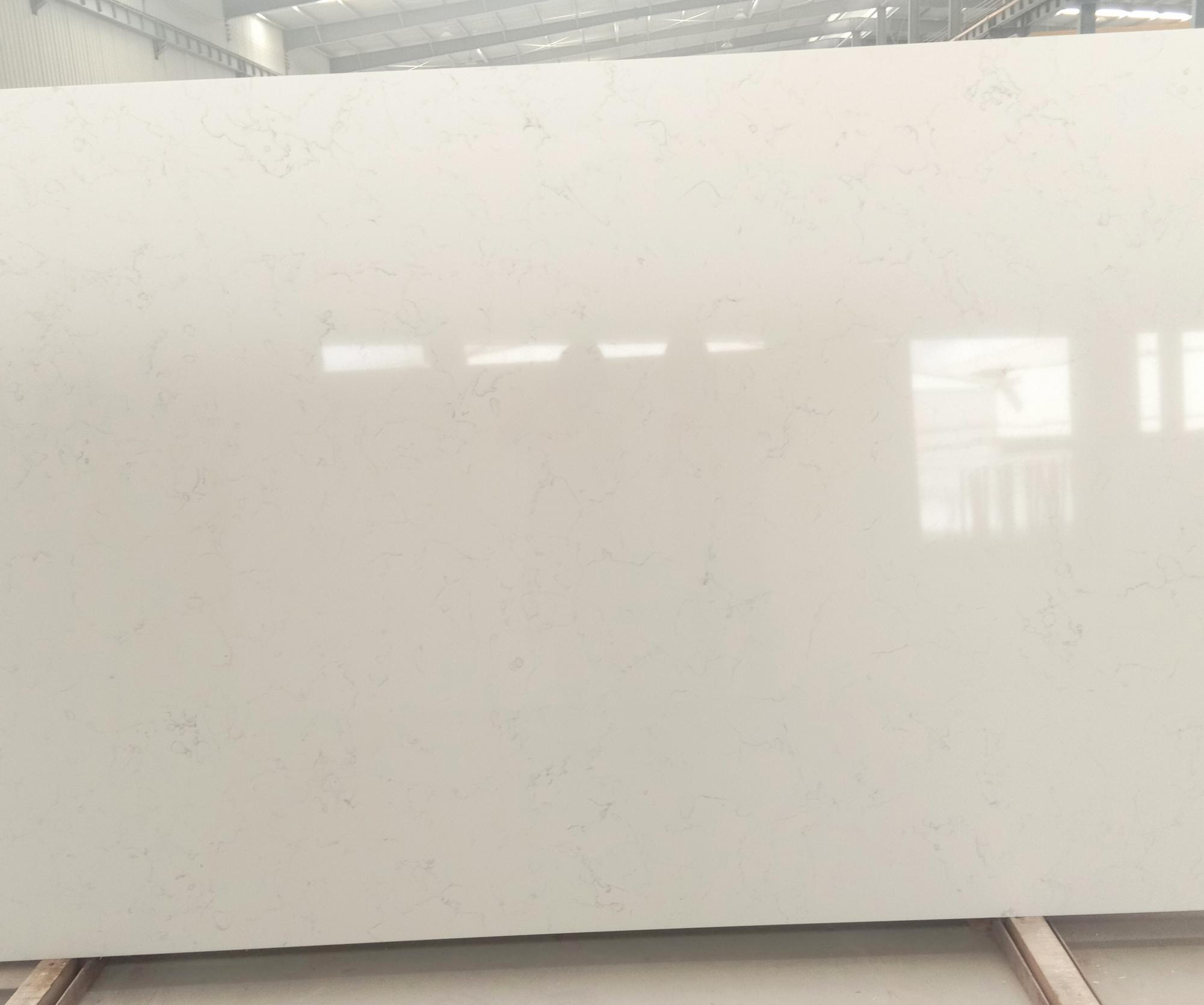 Venetian White Fornitura Hai Phong (Vietnam) di lastre grezze lucide in quarzo agglomerato artificiale 6302 , SL3CM