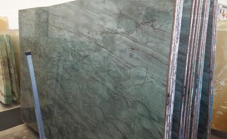 EMERALD GREEN 32 lastre grezze quarzite brasiliana lucida Slab #02,  302 x 198 x 2 cm pietra naturale (disponibili in Veneto, Italia)