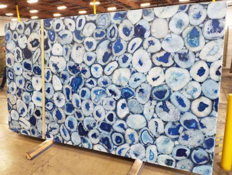 AGATA BLUE 12 lastre grezze pietra semipreziosa brasiliana lucida Jumbo size,  800.1 x 457.2 x 5.1 cm pietra naturale (disponibili in California, Stati Uniti)