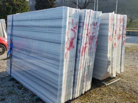 STRIATO OLIMPIO 104 lastre grezze marmo turco lucido Slab #01,  245 x 175 x 2 cm pietra naturale (disponibili in Veneto, Italia)