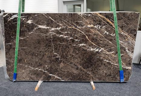 MARRON IRISlastra grezza marmo spagnolo lucido Slab #18,  290 x 160 x 2 cm pietra naturale (disponibile in Veneto, Italia)